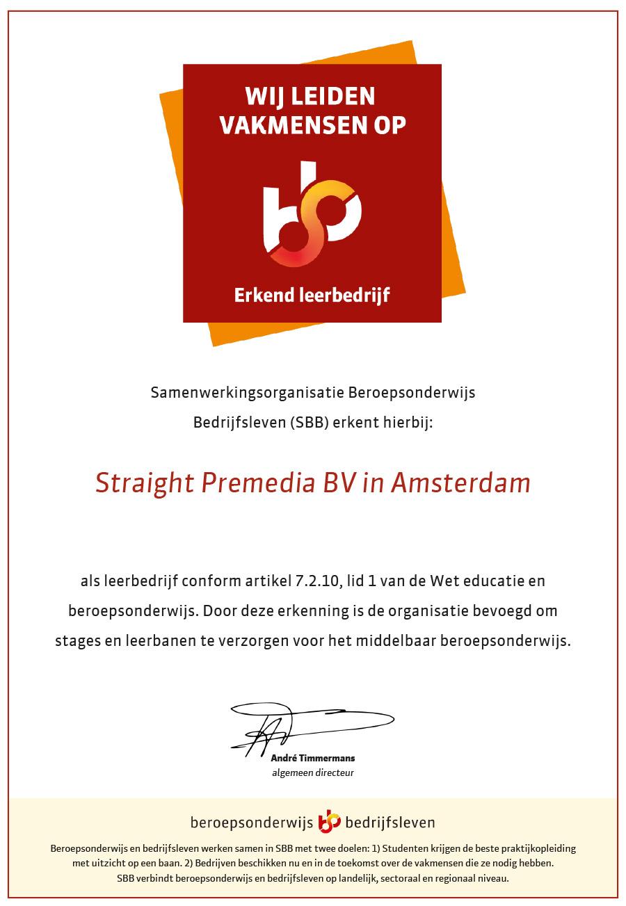 SBB erkenningsbewijs erkend leerbedrijf
